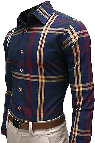 Hommes Shirt Home Chemise boutonnée à Manches Longues 18 Cols à voiturereaux de Fulok pour Hommes (Couleur   14, Taille   US-Medium)
