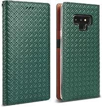 DesignSkin Note 9 Weaving Leather Flip Folio Wallet Case: 100% Leather That is Genuine Cowhide w/Card Slot & Cash Pocket for Samsung Note9 - Green