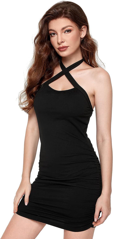 Verdusa Women's Crisscross Cut Out Backless Short Club Bodycon Halter Dress
