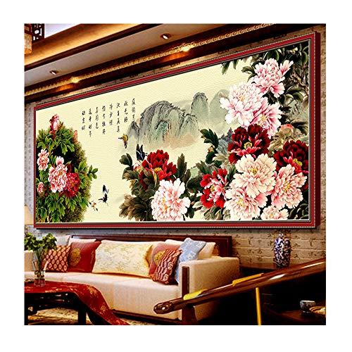 Point de croix, pivoine, fleur, style chinois, p0115