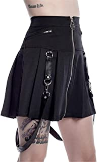 Womens Skater Skirt Gothic Flared Mini Pleated Suspender Skirt