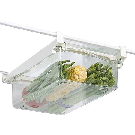 Lrxinki Organisateur De Tiroir De Réfrigérateur, Tiroir De Rangement De Réfrigérateur Extensibles, Bac De Rangement Transparente pour Frigo pour Ranger Collations, Légumes, Fruits Et oufs (A)