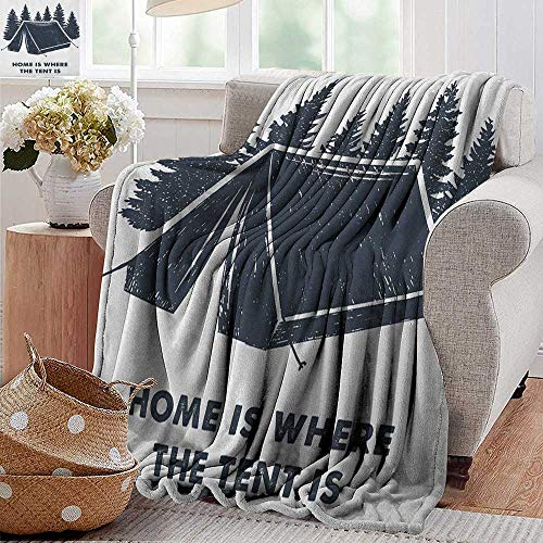 XavieraDoherty Fuzzy Blanket,Quote,Home is Where The Tent is Lettering with Pine Trees Camping Travel Theme, Dark Blue and White, Flannel Throw Blankets for Bed(Lightweight,Super Soft) 70'x90'