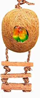 LIVEONCE Bird Round Nest in Coir Steps Nest for Cage All Birds Love Birds,Budgies,Finches and Decoration -Color -Brown