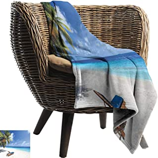 Mannwarehouse Seaside Warm Blanket Tropical Beach Chair Sand Palm Trees Sunny Summer Exotic Travel Theme All Season for Couch or Bed Blue Green and Ivory