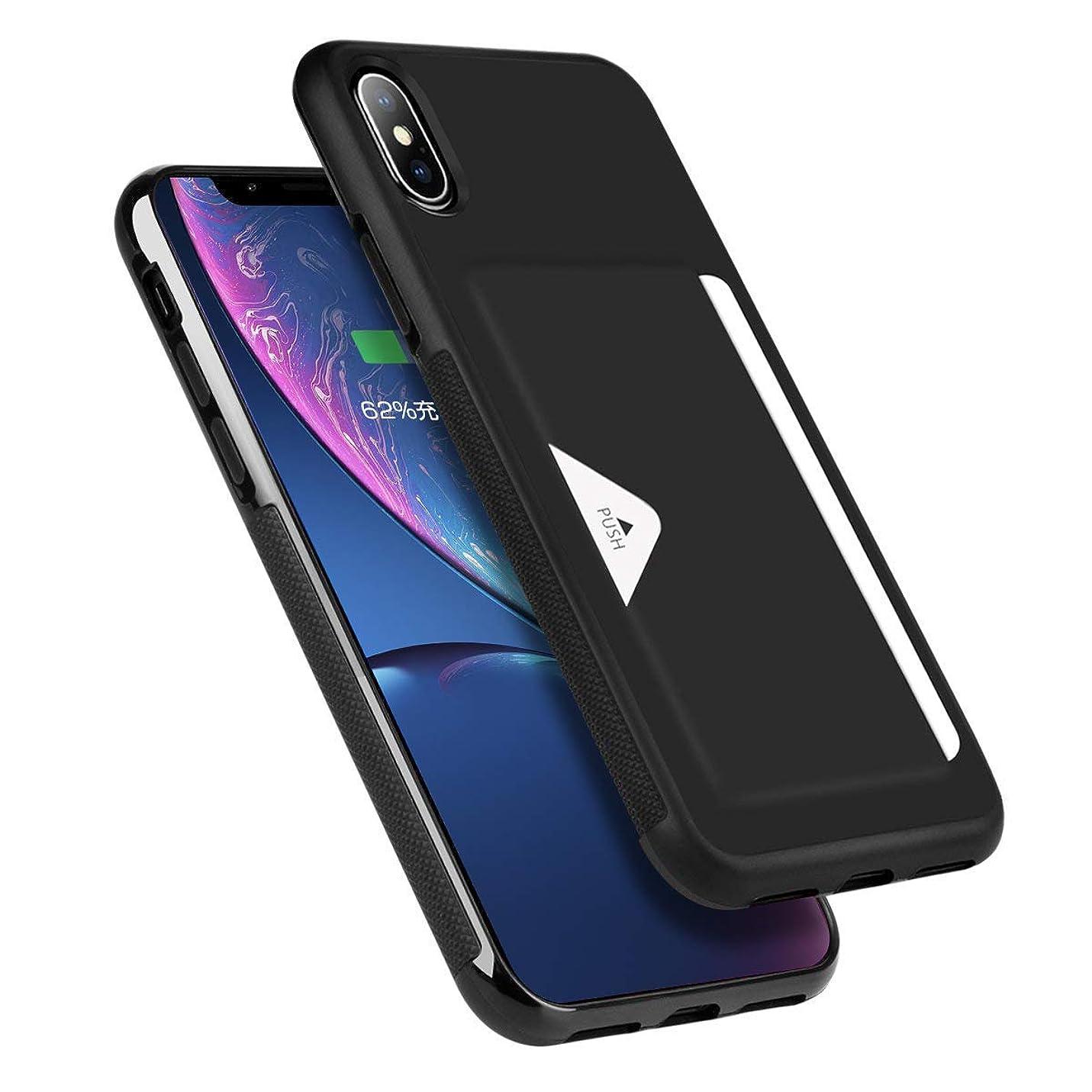 磁石植物学モールス信号Hokonui iPhone XS ケース iPhone X ケース 薄型 ICカード収納 TPU+レザー 耐衝撃 滑り防止 指紋防止 スマホケース 携帯カバー (iphone XS/X, ブラック)