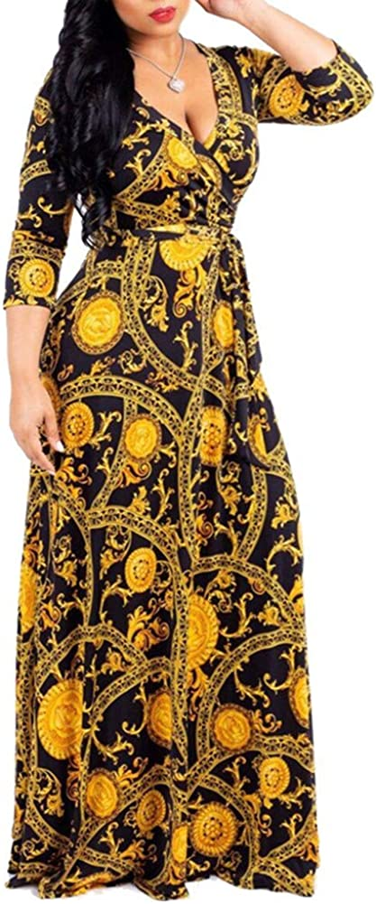 SAMACHICA Women's V Neck 3/4 Sleeve African Floral Printed Party Loose Long Maxi Dress with Belt