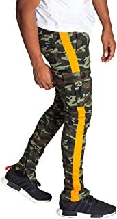 KDNK Men's Tapered Skinny Fit Stretch Twill Cargo Ankle Zip Camo Track Pants