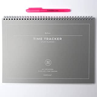 Time Tracker Study Planner with AHZOA H1 Highlighter, Academic Planner, Undated Daily Planner, Twin-Wire Binding (Gray)