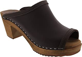 Bjork Thalia Swedish Wood Peep Toe Clogs in Brown Veg-Tan Leather