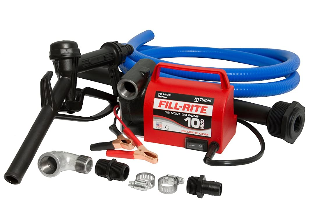 Fill-Rite FR161612V 10 GPM Portable Diesel Fuel Transfer Pump With Discharge Hose, Manual Nozzle, & Suction Pipe