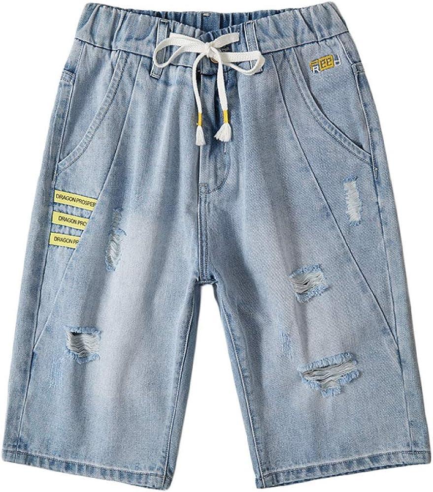 brandless Men's Denim Shorts Hole Korean Retro Loose Large Size Tether Casual
