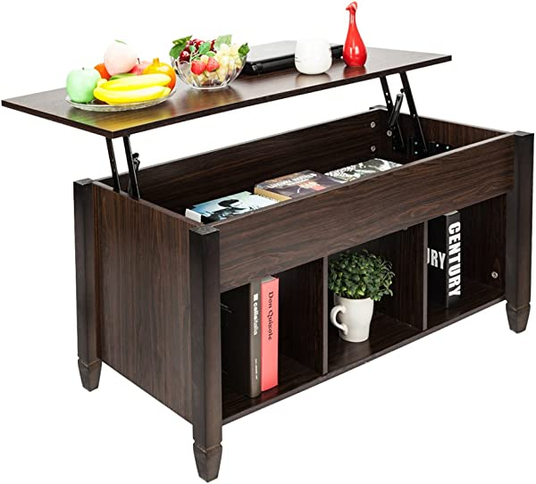 茶几升降顶木制家用客厅现代升降顶储物茶几 W 隐藏隔间升降桌面家具棕色