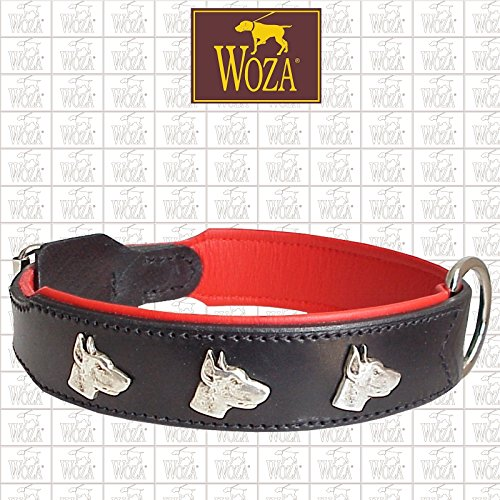 Woza Exclusive HUNDEHALSBAND 3,8/60CM Dobermann Vollleder RINDNAPPA SATTLERNAHT Handmade Collar