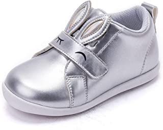 MINGAZ Girls Shoes, Children's Shoes, Autumn Baby Shoes, Fashion Toddler Shoes, 2-3-6 Girls Shoes (Color : Silver, Size : 22EU)