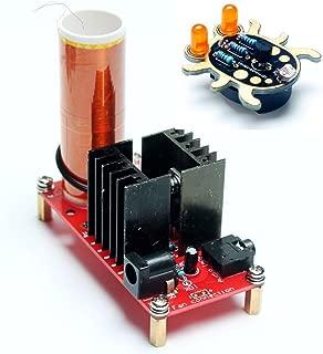 DIKAVS DC 15-24V 15W Mini Music Tesla Coil Plasma Speaker Loudspeaker Tesla Wireless Transmission DIY Kits+Weevil Eyes Beginner Welding kit