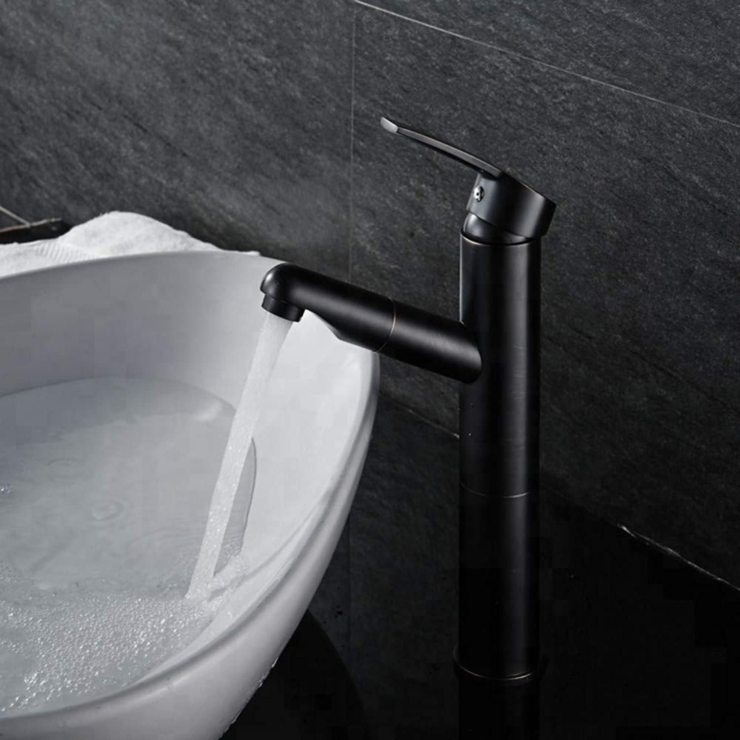 Bathroom Sink Tap Basin Sink Mixer Tap Single Handle Vintage Brass Orb Finish Black color Pull Out Bathroom Tall Basin Faucet Mixer Tap