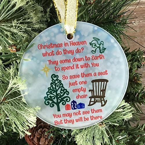 playtailor Christmas in Heaven Ornament, Glass Christmas Ornament - Funny Christmas Ornament