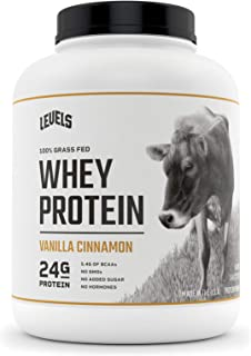 Levels 100% Grass Fed Whey Protein, No GMOs, Vanilla Cinnamon, 5LB