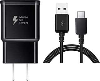TT&C Adaptive Fast Wall Charger kit with USB Type-C Cable Compatible with Samsung Galaxy S8/S8 Plus/ S9/ S9+/ S10/ S10 Plus/Note 8/ Note 9 (Black)