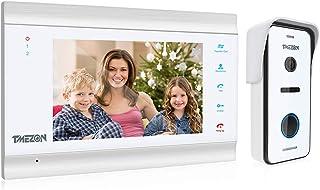 TMEZON HD 1080P Visiophone Filaire, Vidéo Interphone 4 Fils Connection,7 Pouce Moniteur et Sonnette de Caméra, Audio Bidir...