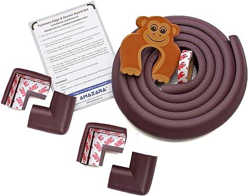 AMAZARA Baby Proofing Edge & Corner Guards   6.5Ft Edge + 4 Pre-Taped Corner Protectors   Child Safety Furniture Cush...