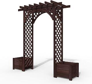 S-AIM Cenador Arco de jardín, Enrejado de Madera Maciza para Exteriores de Primera Calidad, Arco de Rosas con jardineras Dobles, Patio, Patio, jardín, Arco, pérgola: Amazon.es: Hogar
