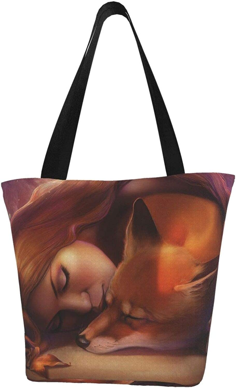 Fox Farm Art Animals Sleeping Girl Themed Printed Women Canvas Handbag Zipper Shoulder Bag Work Booksbag Tote Purse Leisure Hobo Bag For Shopping