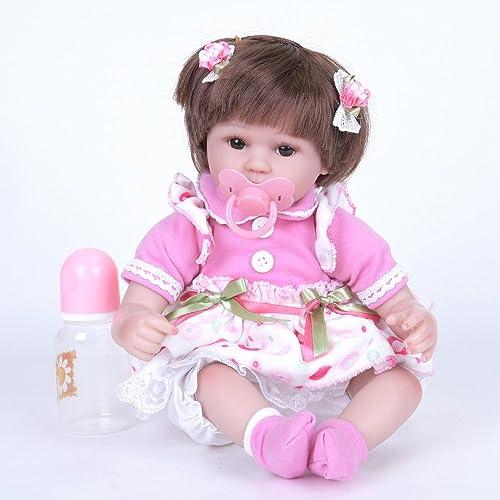 QXMEI Simulation Baby Rebirth Puppe Größe Puppe 42cm Kinder Spielzeug Braune Augen,A