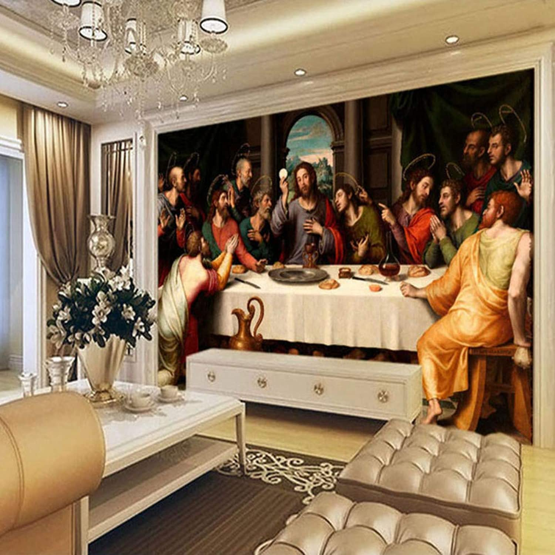 Zxdxd Papel tapiz fotográfico personalizado Murales Pintura al óleo europea última cena Pintura de parojo grande Fondo de sala de estar Mural Papel tapiz-200X140CM