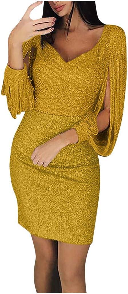 iQKA Women Sexy Glitter Sequin Stitching Tassel Long Sleeve Club Slim Fit Evening Party Club Mini Dress