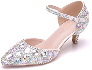 Crystal Queen 2.15' Women Thick Heel Mary-Jane Sandals Kitten Heel Pointed Toe Wedding Shoes Bridal Prince Rhinestone Shoes