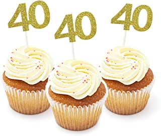 40th Cupcake Toppers, HOKPA 40th Birthday Cupcake Toppers, Gold Glitter Number 40 for Birthday Celebrating, Anniversary Party Decor (24PCS)