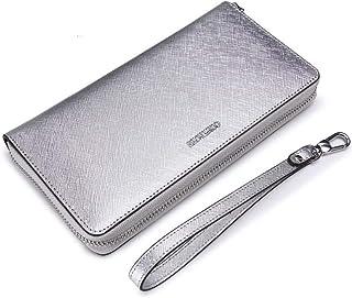 LDUNDUN-BAG, 2019 Cross-Grain Leather Clutch Bag Hand Strap Multi-Function Mobile Phone Bag Wallet Purse Women's Wallet (Color : Silver, Size : S)