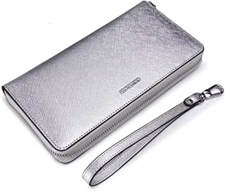 Leather Women's Wallet Cross-Grain Leather Clutch Wallet Hand Strap Multi-Function Mobile Phone Wallet Wallet Purse Waterproof (Color : Silver, Size : S)