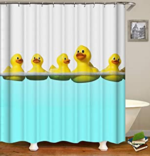 OCCIGANT Animal Decor Shower Curtain,Cute Yellow Duck Swimming in The Tiffany Blue Water,Fabric Bathroom Set with Hooks,White Blue