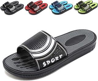 welltree Men's Slide Slipper Shower/Pool/Beach/Garden Quick Drying Sandal Black
