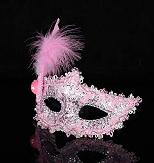 Perfect Party Decoration Holiday Accessories Rhinestone Lace Half Face Feather Mask Party Masquerade Mask(Pink)