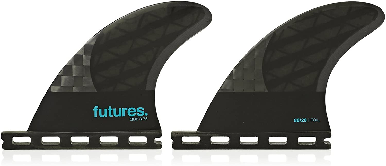 Futures Fins QD2 3.75 Blackstix 3.0 Quad Rear Pair in Smoke Turquoise