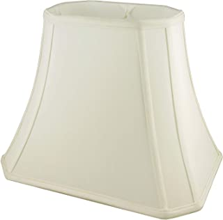 American Pride Soft Shantung Rectangle Tailored Lampshade, (6.25 x 8) x (9.75 x 14) x 10.75-Inch, Eggshell