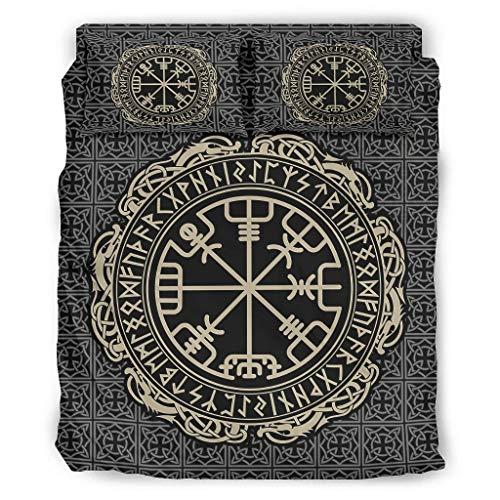 Juego de 4 fundas de edredón y fundas de almohada de vikingo con diseño de árbol de la vida, color blanco, 240 x 264 cm