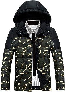 Piumino Invernale da Uomo Corto in Camoscio con Cappuccio Abbigliamento Camouflage Vintage Invernale da Uomo in Caldo con ...