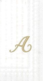 """Ideal Home Range 96 Count Stripes Again Monogram Letter A Paper Guest Towel Napkins, 8.5"""" x 4.5"""""""