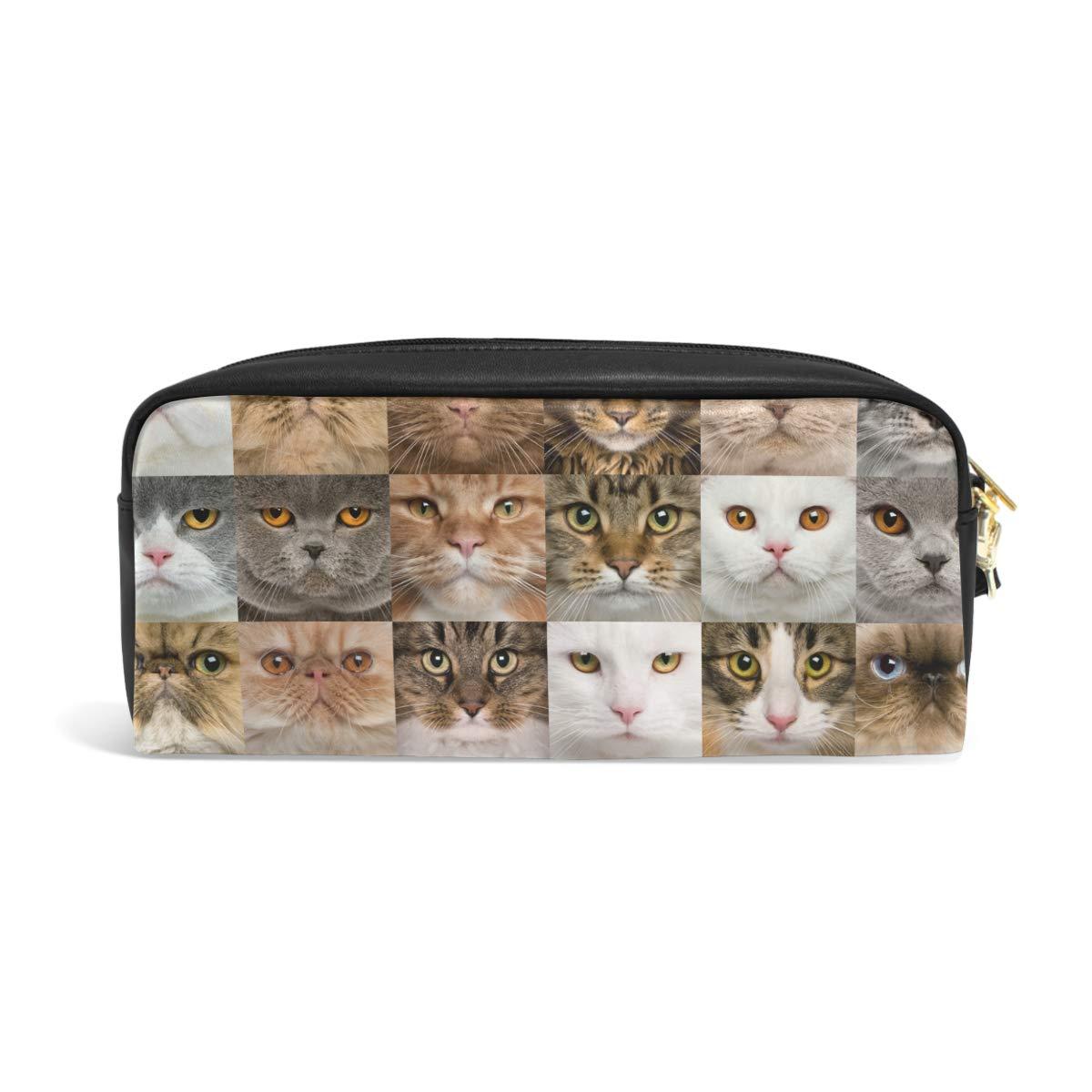 Estuche de gran capacidad con varios patrones de cara de gato, bolsa de papelería con cremallera para maquillaje: Amazon.es: Oficina y papelería