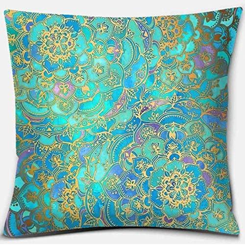 Mandala Series Z-38 Funda de almohada cuadrada impresa, decoración del hogar, funda de cojín para sofá de coche (45 cm x 45 cm)