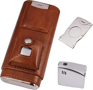 AMANCY Portable 3 Holder Cigar Case Set With Lighter and Cutter Great Gift Kit