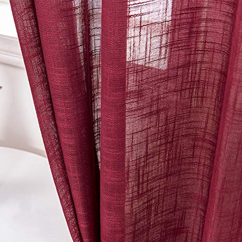 AmHoo 2 Panels Linen Sheer Curtains Premium Heavy Semi Draperies with Grommet Top Drapes Voile Panels Window Treatment for Living Bedroom Room Burgundy 52 x 63 Inch