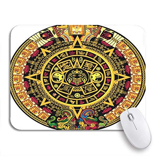 N\A Gaming Mouse Pad Calendario Inca Azteca Color Maya México México Cultura Dibujos Animados Antideslizante Respaldo de Goma Mousepad para portátiles Computadoras Alfombrillas de ratón