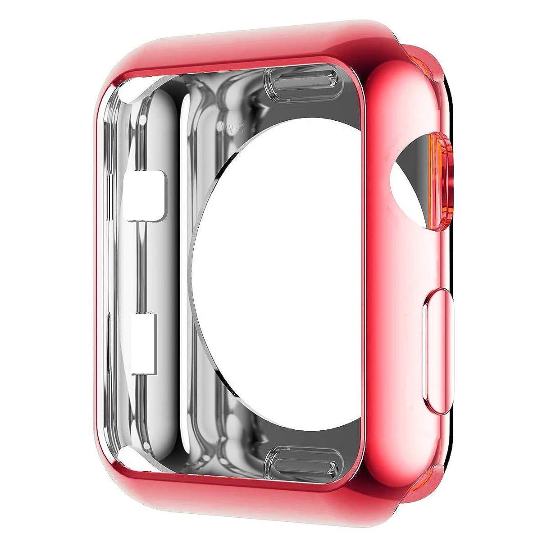 ベギン謎めいたパンチApple Watch ケースTPU 通用形メッキ ケース耐衝撃性 超簿 脱着簡単 傷付き保護 柔軟 カバープロテクターバンパー Apple IWatch アップルウォッチ シリーズ Series 1 / 2 / 3 (42mm, 赤)