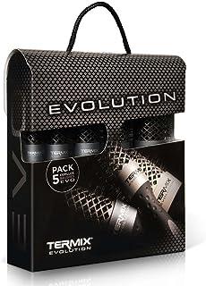 Termix Evolution Plus -Pack de 5 cepillos de pelo térmico redondo con fibra ionizada, diseñadas para cabello grueso. El Pack incluye los díametros Ø17, Ø23, Ø28, Ø32 y Ø43.